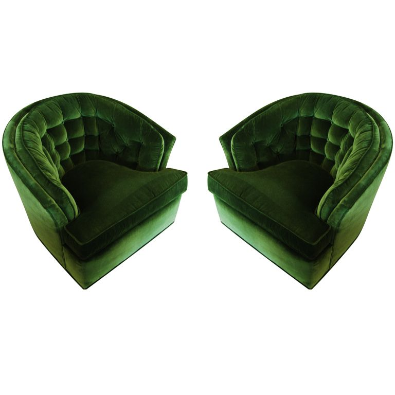 Green Velvet Swivel Chair Office High Seat Beautiful Pair Of Tufted Barrel Back Chairs Dream