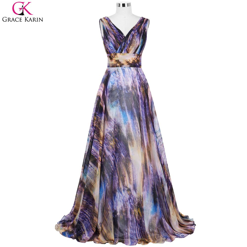 Grace karin long evening dresses nebula pattern chiffon v neck