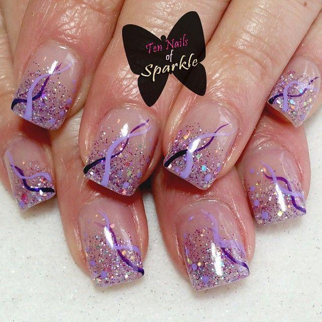 Bold purple faded acrylic nails using Tammy Taylor's ...