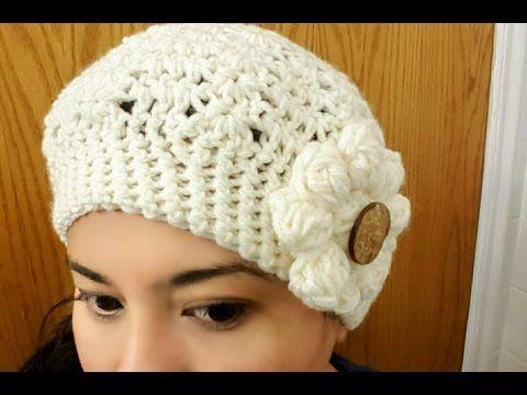 Gorro con Flor en Crochet(ganchillo)Para Niña y Mujer - YouTube  5e1fa7422a9