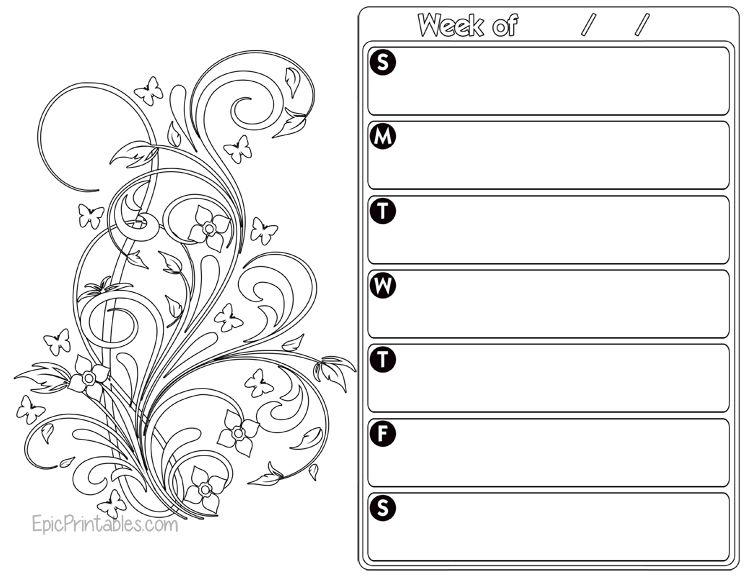 Weekly Planner Color Page Light 1 Freeprintable Weekly Planner Free Printable Weekly Planner Weekly Planner Free