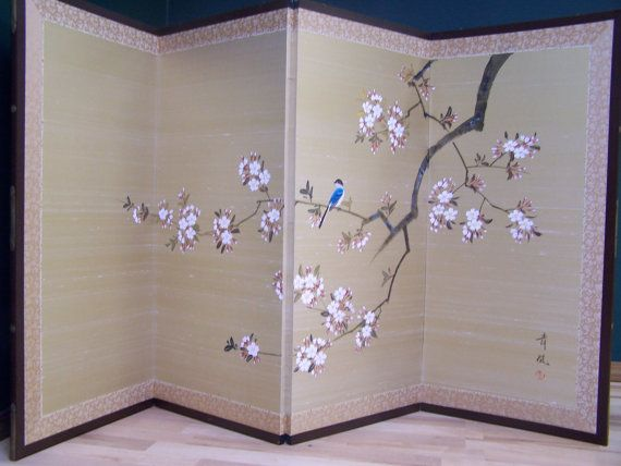 Vintage Japanese Room Divider Screen Hand Painted Silk Bird On A