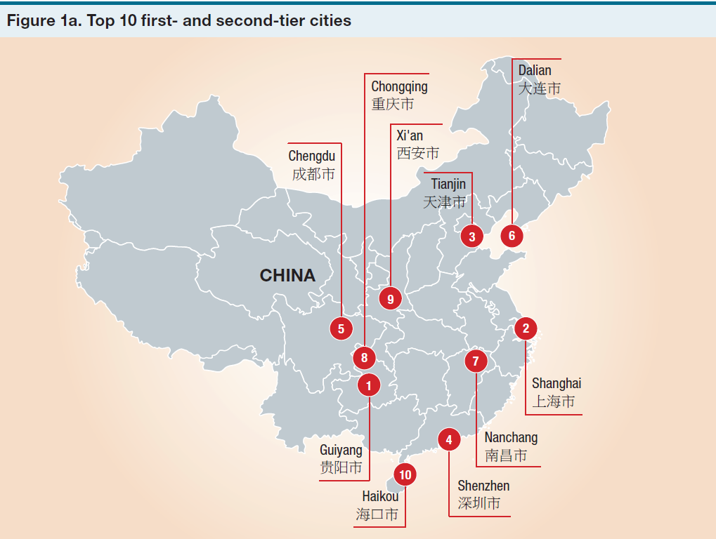 Best Performing 1st and 2nd Tier Chinese Cities 2016 Milken