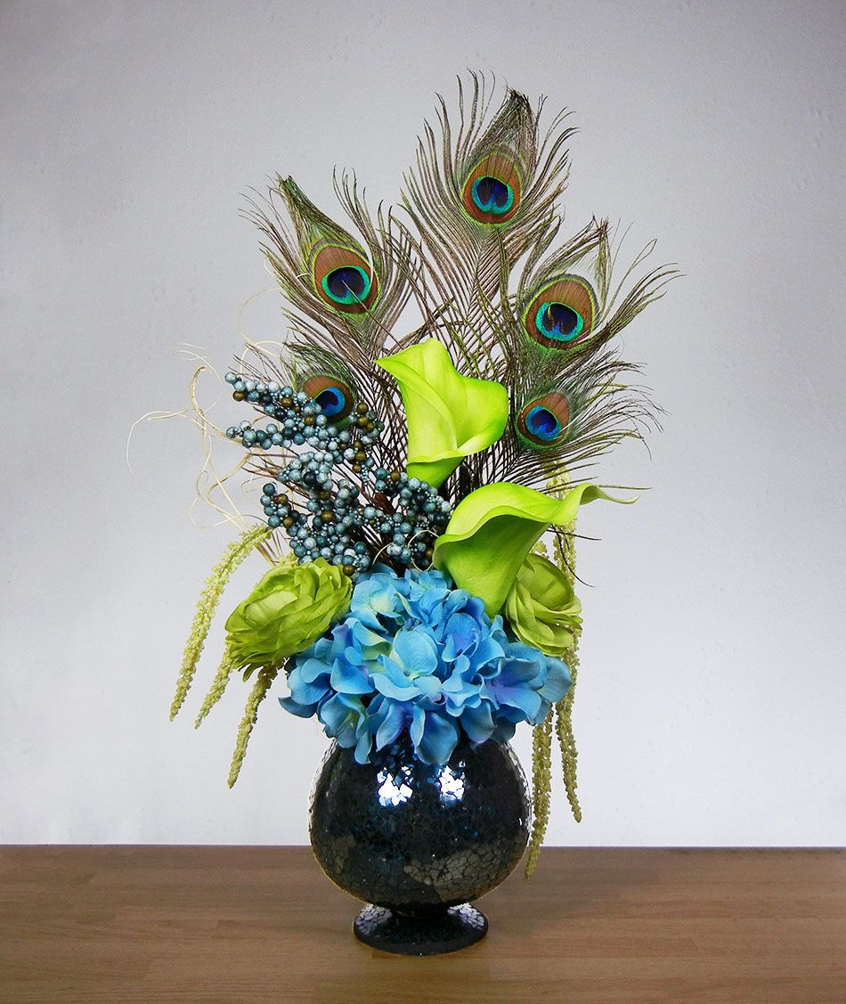 New blue and green peacock feather hydrangea rose lily - Peacock arrangements weddings ...