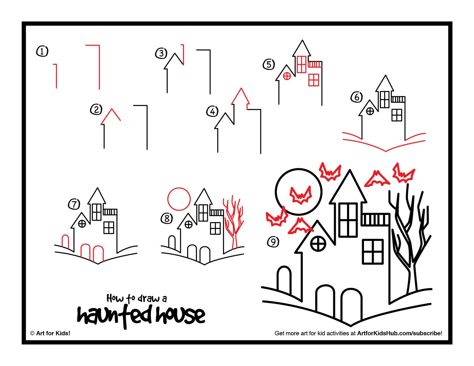 How To Draw A Haunted House Art For Kids Hub Drawing Books For Kids Haunted House Drawing Drawing Videos For Kids