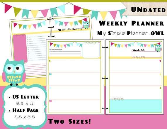 Printable Weekly Calendar Planner PDF Refills - US Letter  Half - Daily Calendar Printable
