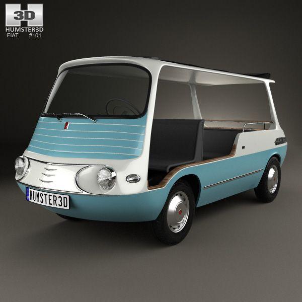 3d Model Of Fiat 600 Multipla Marinella 1958 Fiat 600 Fiat Car