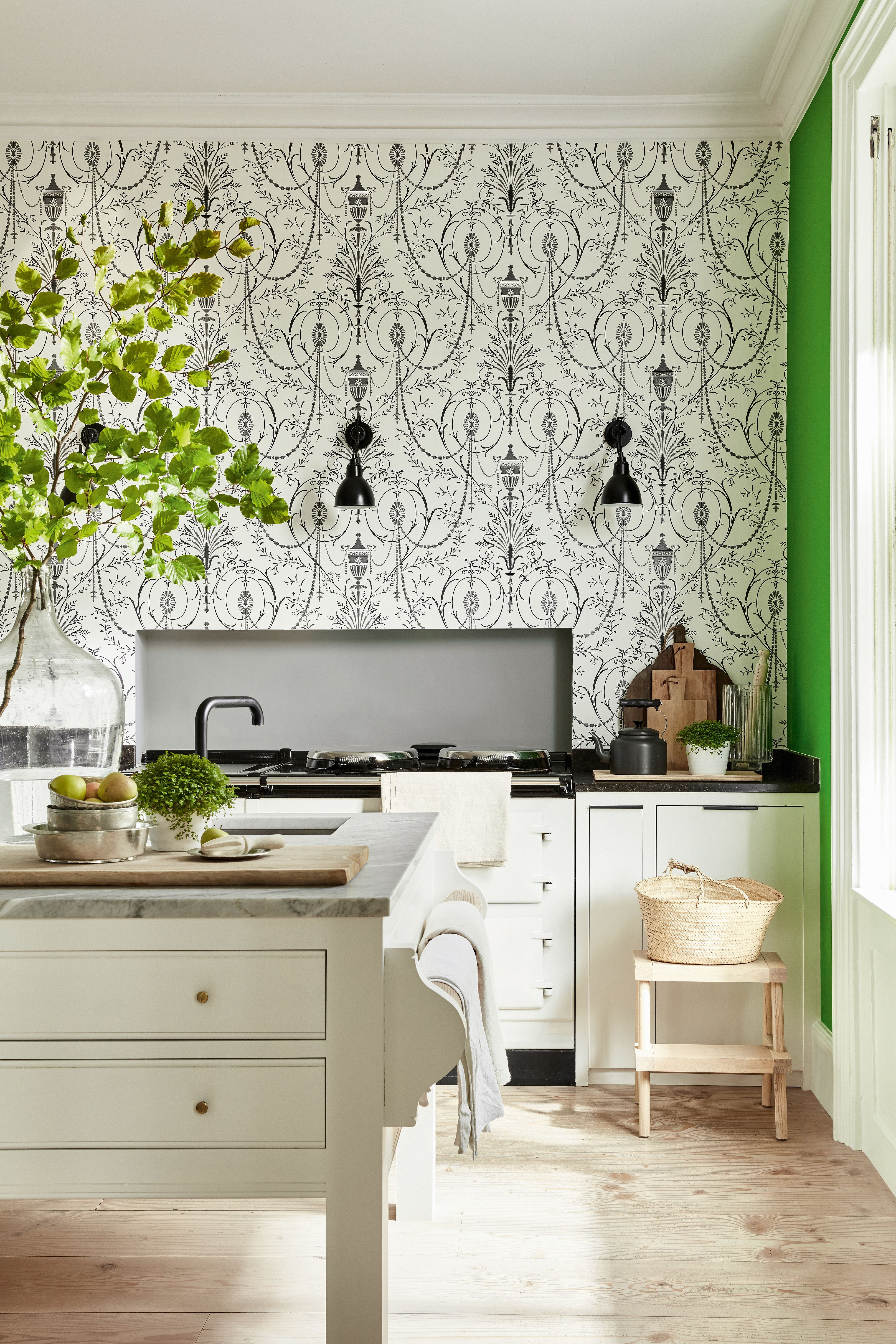 16 Beautiful Kitchen Wallpaper Ideas Kitchen Wallpaper Kitchen Color Trends Wallpaper House Design