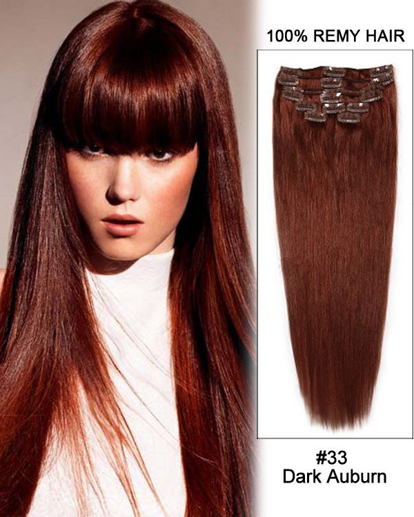 16 Inch 8pcs Straight Indian Clip In Remy Hair Extensions 33 Dark