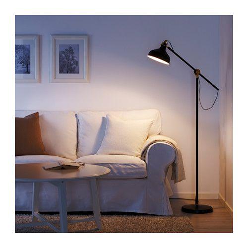 RANARP Floor reading lamp with LED bulb black