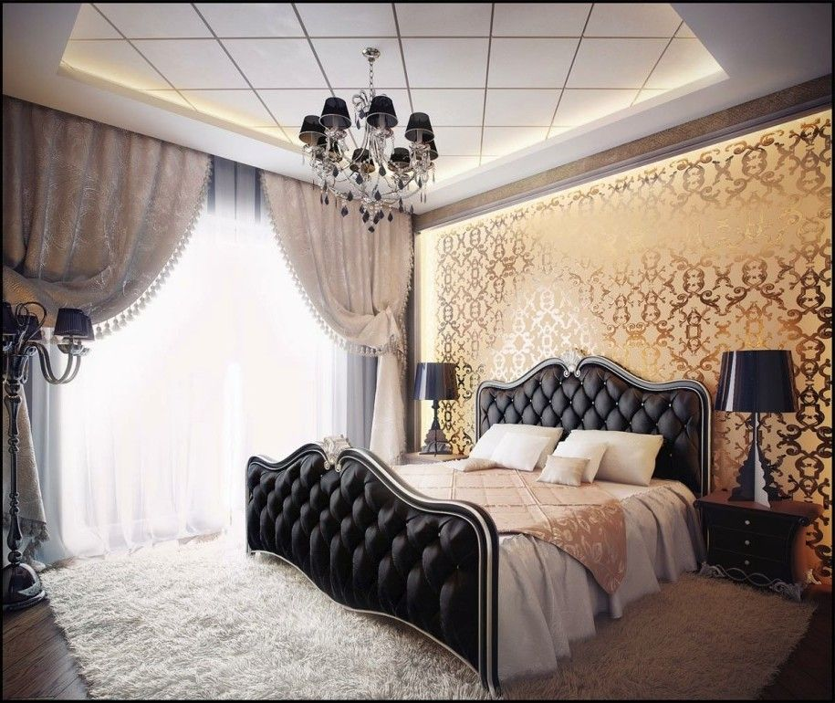 Amazing Luxurious Look with Black Gold Bedroom Decorating Ideas gold bedroom decorating ideas For Your House - Luxury black white gold bedroom Contemporary