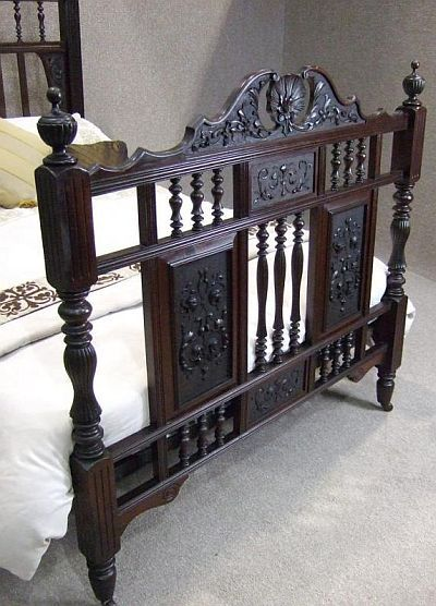 Victorian Bed Frames Double On Carved Victorian Walnut Double Bed