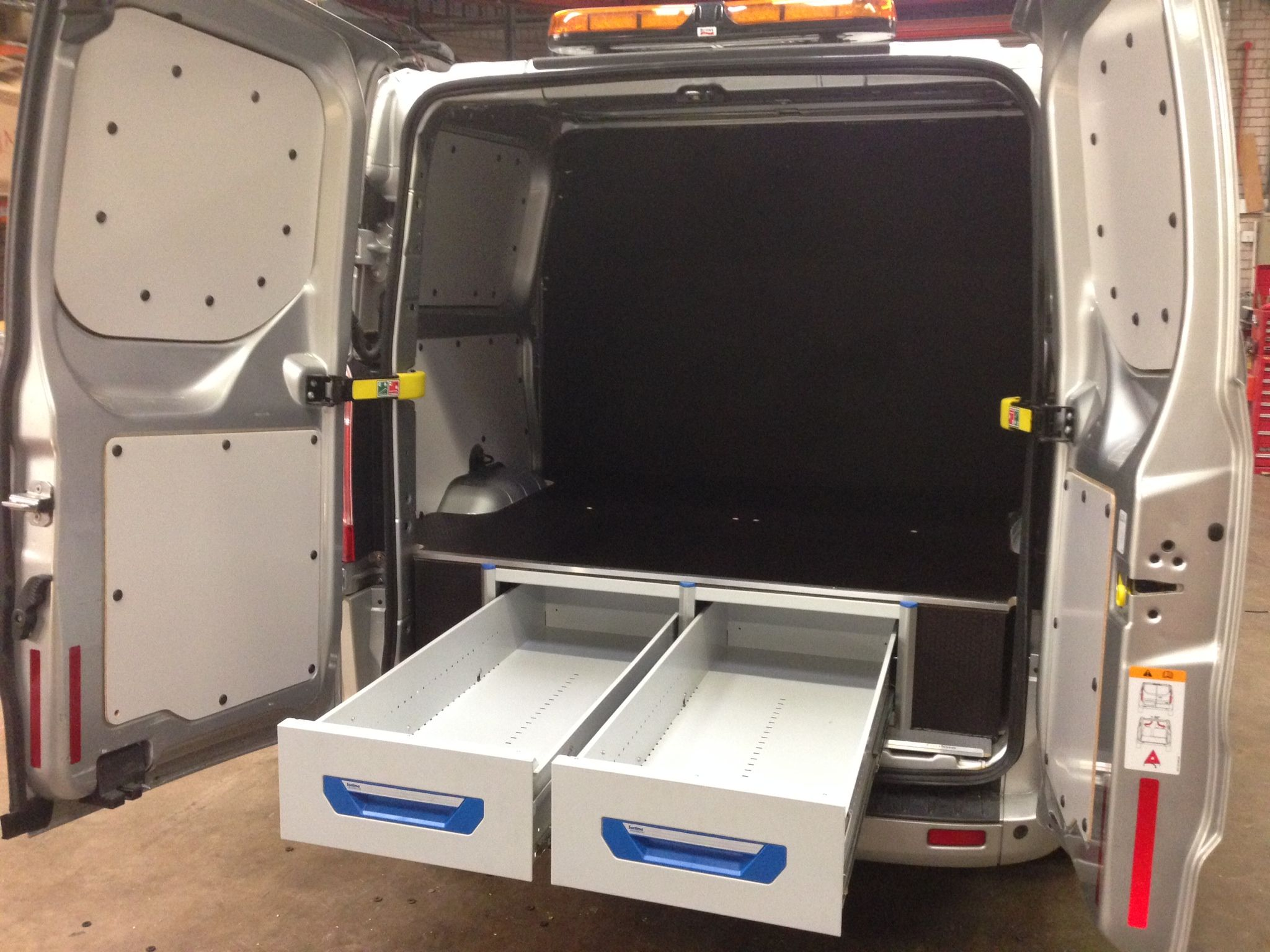 Ford Transit Custom L2 Sortimo Xl Drawer System And False Floor Accessible From Rear Door Ford Transit Van Storage Van Shelving