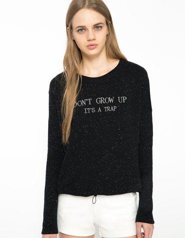bershka turkey bershka text plush sweatshirt yeah totally