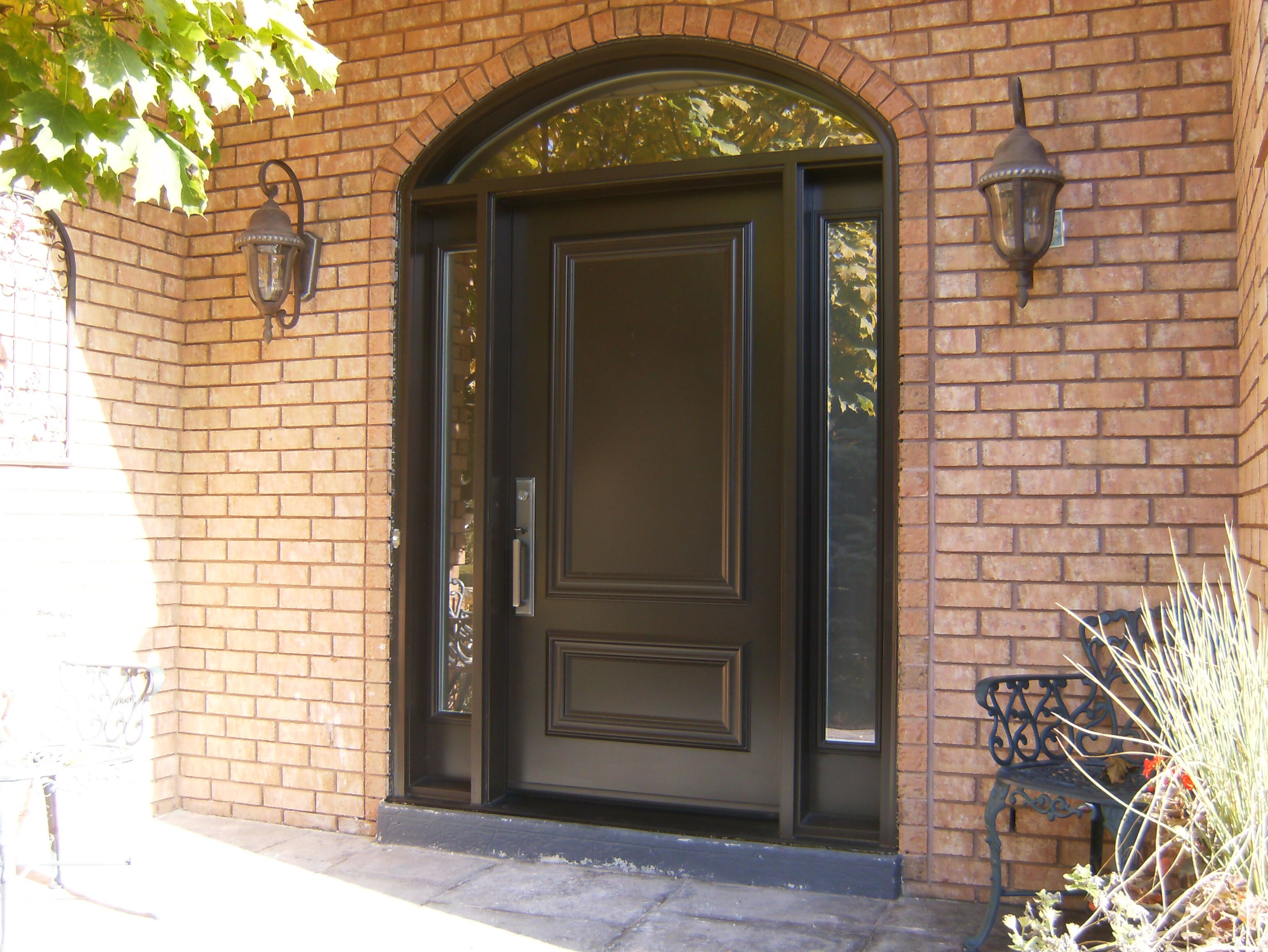 Beautiful Entry Door with Sidelight and Transom