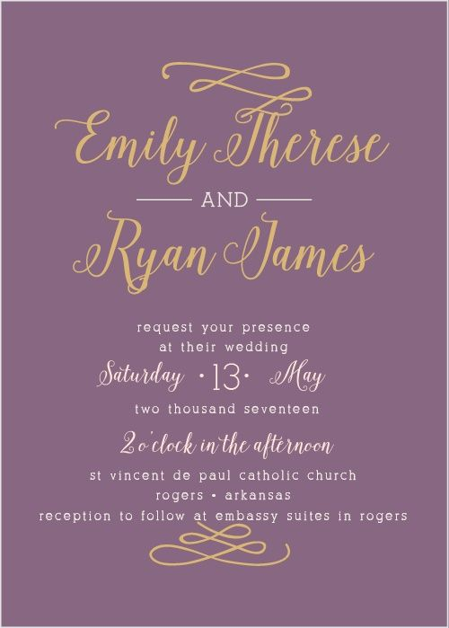 The Whimsical Calligraphy Foil Wedding Invitations are an