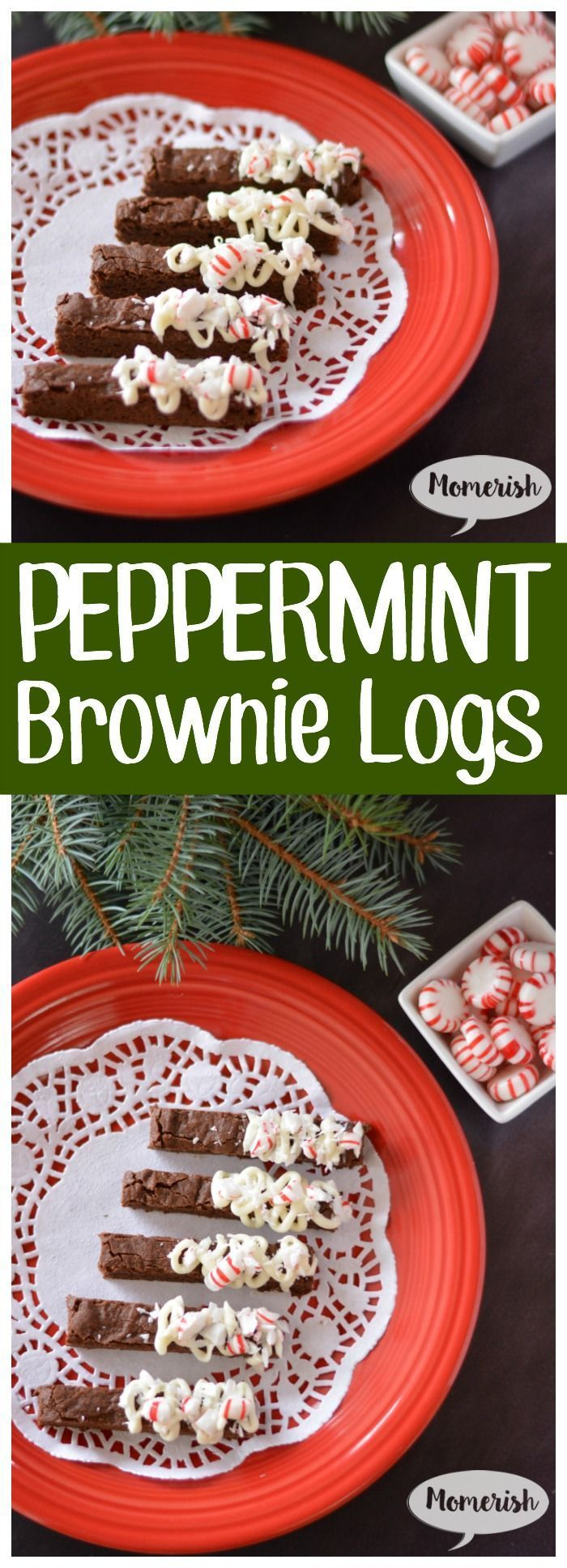 Peppermint Brownie Logs - A cute and easy dessert recipe perfect for a Christmas party or gifts for family and friends.