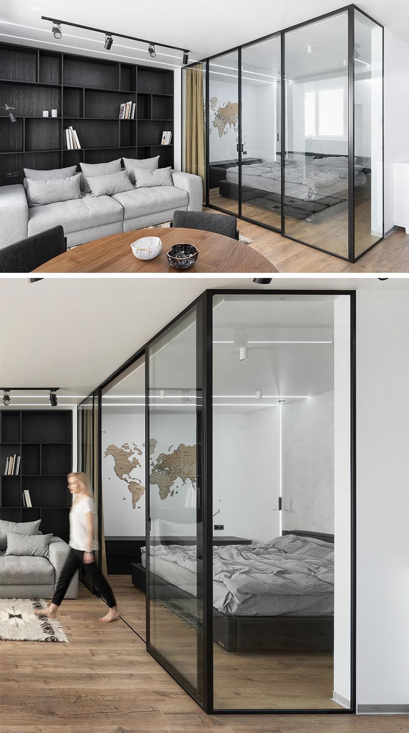 A Glass Enclosed Bedroom Creates A Slightly Separate Space Inside This Small Apartment Small Apartments Modern Apartment Design Modern Bedroom