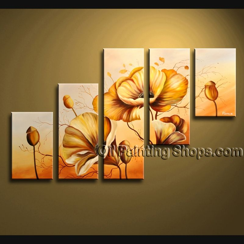 Large Contemporary Wall Art Floral Painting Poppy Flower On Canvas ...