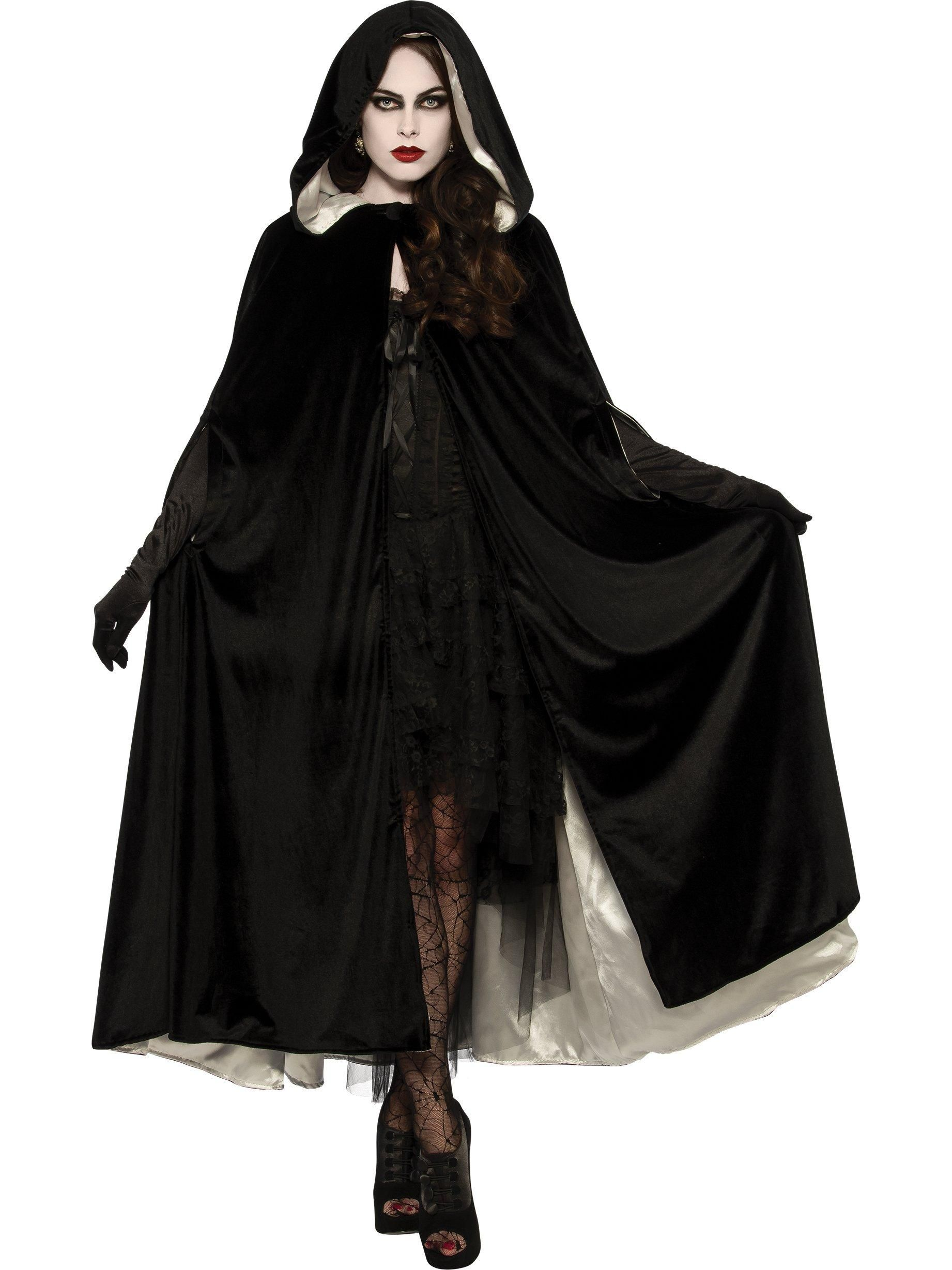 Gothic Vampire Ladies Fancy Dress Adults Dark Halloween Robe Costume Outfit