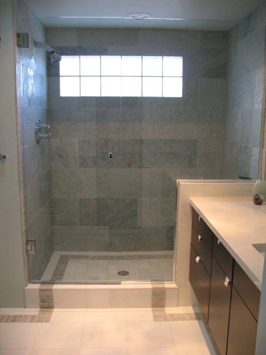 Bathroom, Small Bathroom Windows Design Plus Compact Black Vanity Furniture  And Elegant Gray Tile Shower
