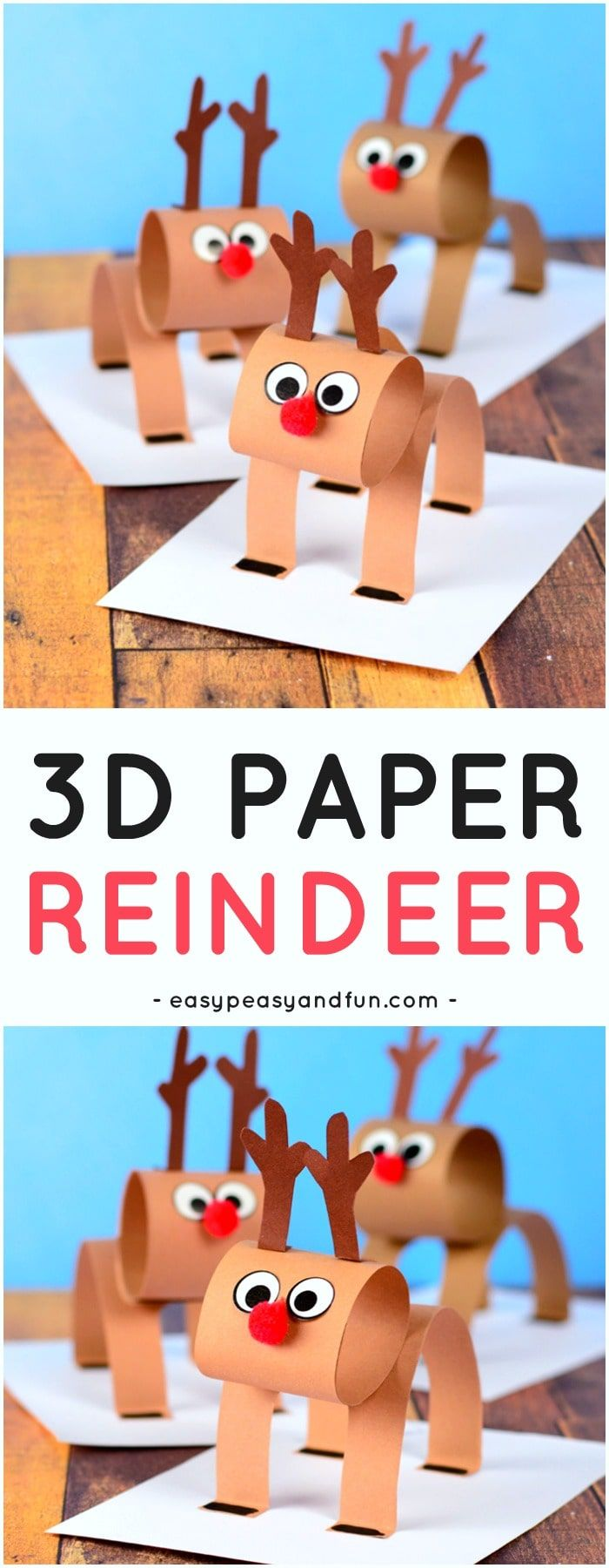 3d Construction Paper Reindeer Christmas Craft Idea With Template