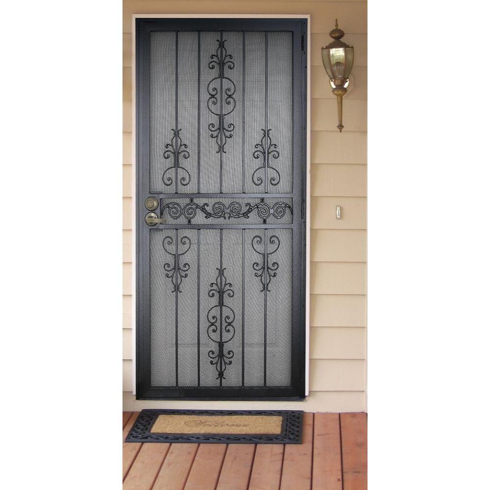 Unique Home Designs 36 In. X 80 In. El Dorado Black Surface Mount Outswing  Steel Security Door With Heavy Duty Expanded Metal Screen