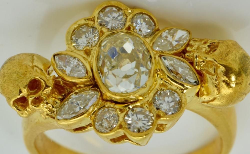 WOW $ Victorian 18k gold&1 7ct IF G color Diamond Memento