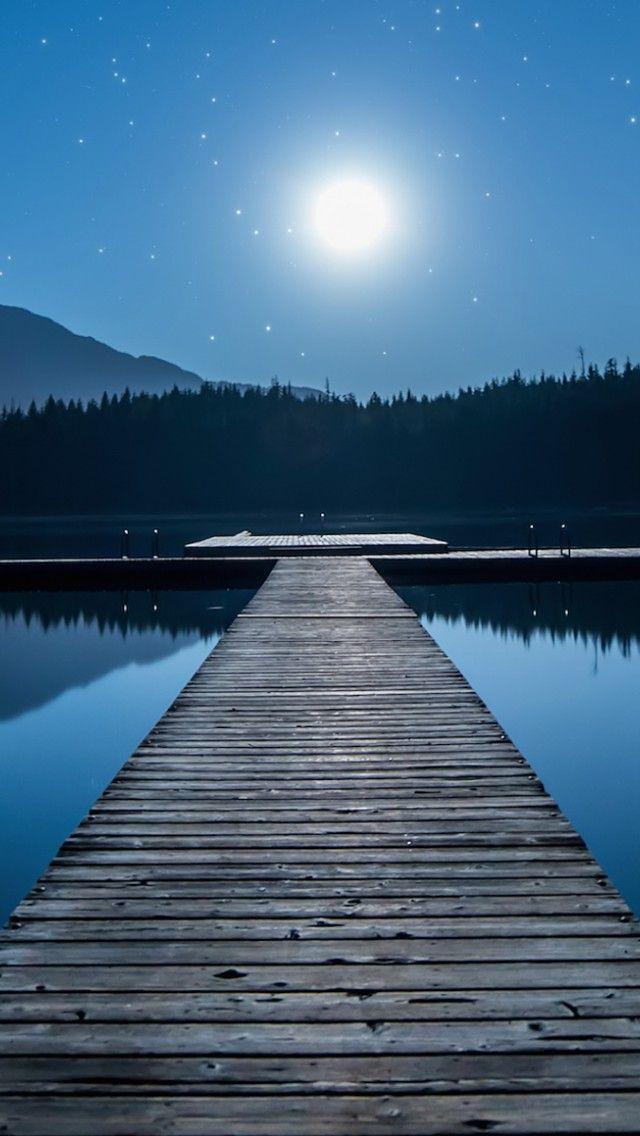 Canadian Moonlit Lake Iphone 5 Wallpaper Smartphone