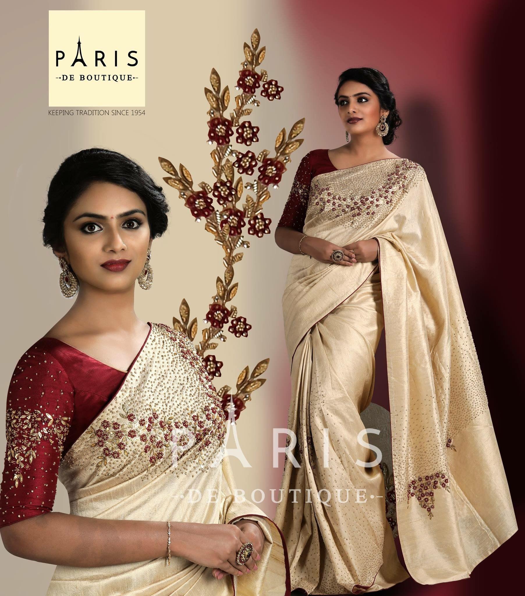 Baptism Color Combo Model Parvathy Somnath Designer Saree