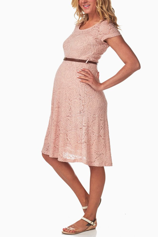 Pink Lace Belted Maternity Dress | Ropa