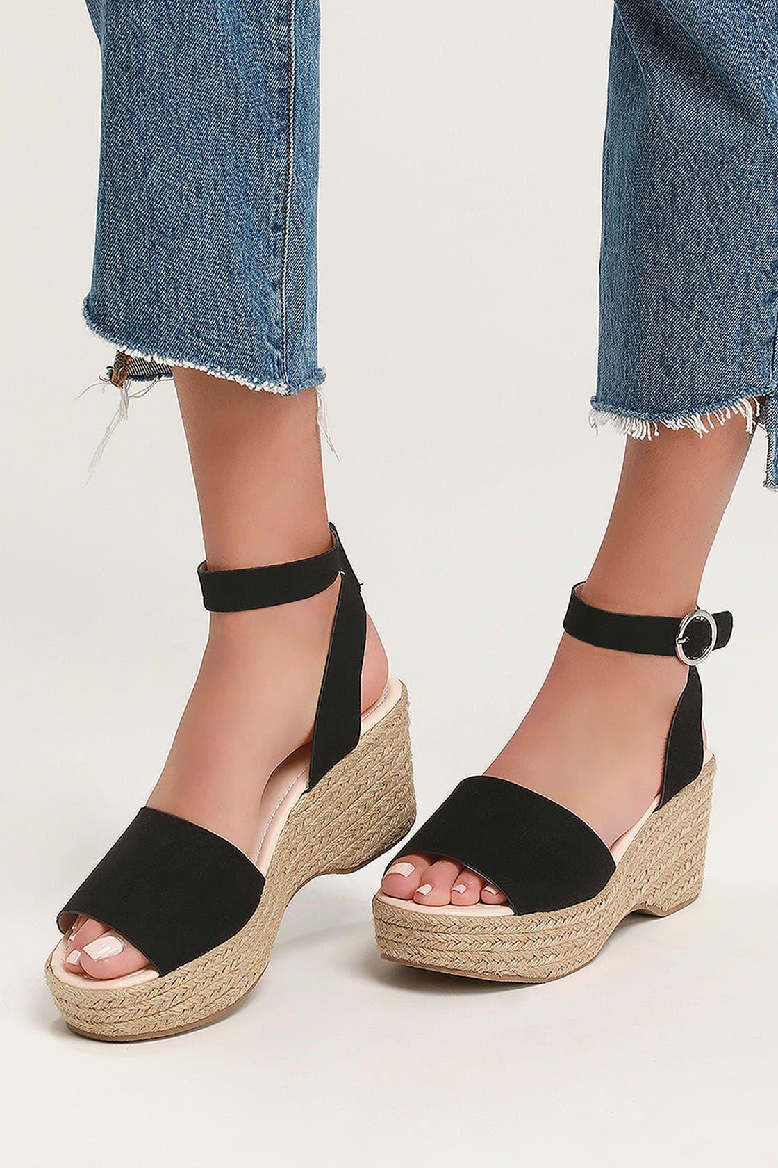 f5580d37ba Elyse Black Suede Platform Espadrille Sandals in 2019 | Shoes ...