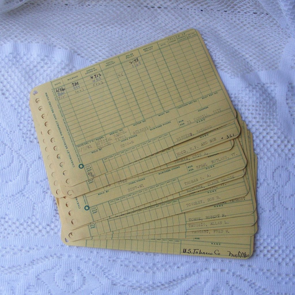 Ten 1940's Chevrolet Car Service Forms From Rutland Etsy