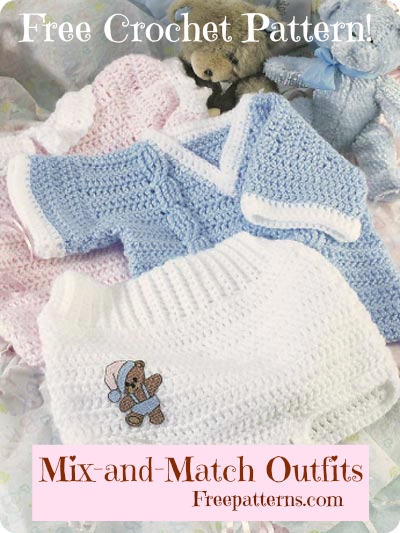 Free Mix-and-Match Outfits Crochet Pattern -- Download this free crochet  baby - Free Mix-and-Match Outfits Crochet Pattern -- Download This Free