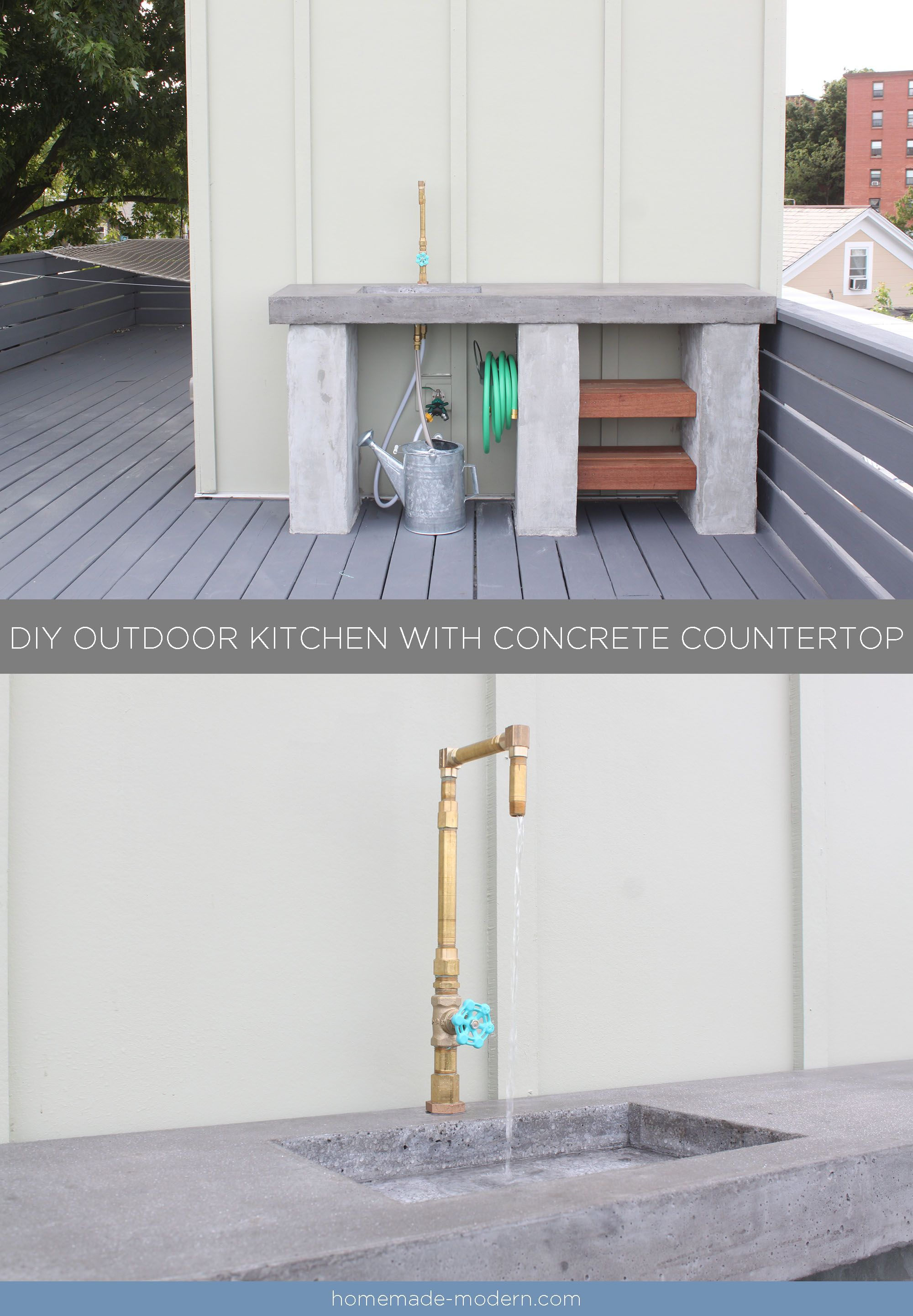 This DIY Outdoor Kitchen with Concrete Countertop is convenient for your deck, patio or outdoor garden. Full instructions can be found at HomeMade-Modern.com
