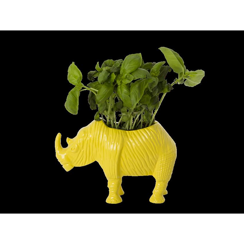 Small Yellow Metal Rhino Planter - Rice A/S