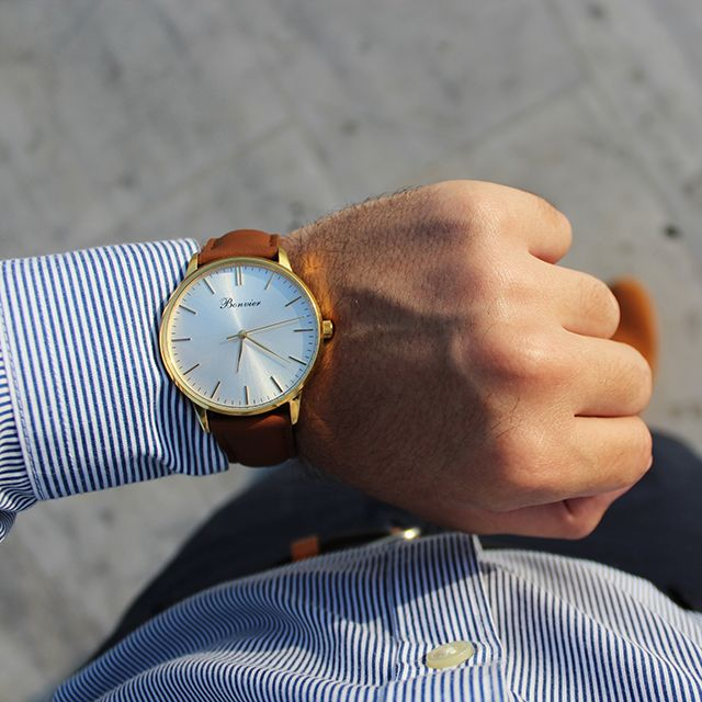 Classic Gold on the wrist. Thanks to @iamjnkstyle. Free shipping worldwide - www.bonvier.com #bonvier #watches #orologi