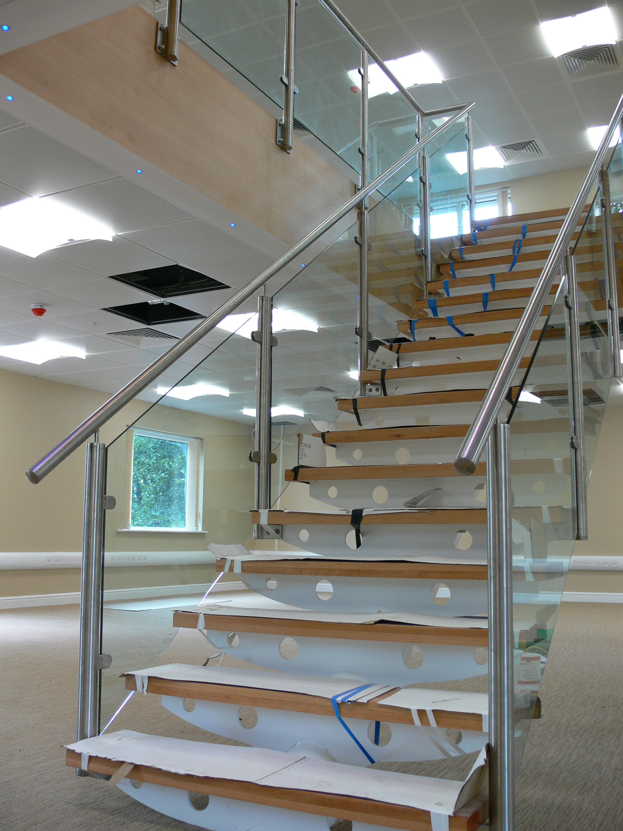 Best A Steel Staircase With Stainless Steel Handrails And Pan 640 x 480