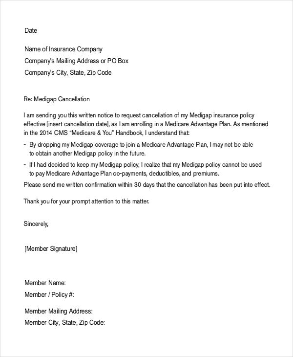 Insurance Cancellation Letter Sample Template Termination Free