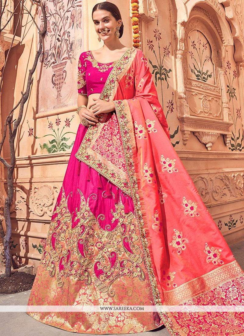b855890298 An outstanding hot pink jacquard silk lehenga choli will make you look  extremely stylish and graceful. Look ravishing clad with this attire that's  enhanced ...