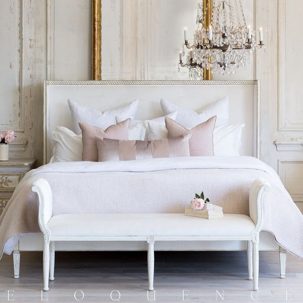 Eloquence Antique White Gold Leaf Cassia Ivory Velvet Queen Bed ($3,795) ❤  Liked On