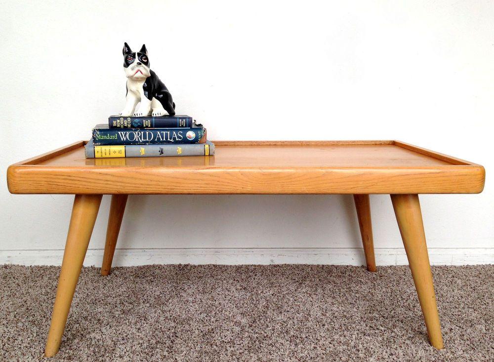 Vintage Mid Century Modern Blonde Solid Wood Coffee Table Midcenturymodern