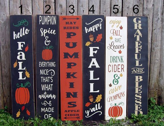 Reversible Vertical Porch Signs For Fall 3 Feet Porch Signs Fall Wood Signs Fall Decorations Porch