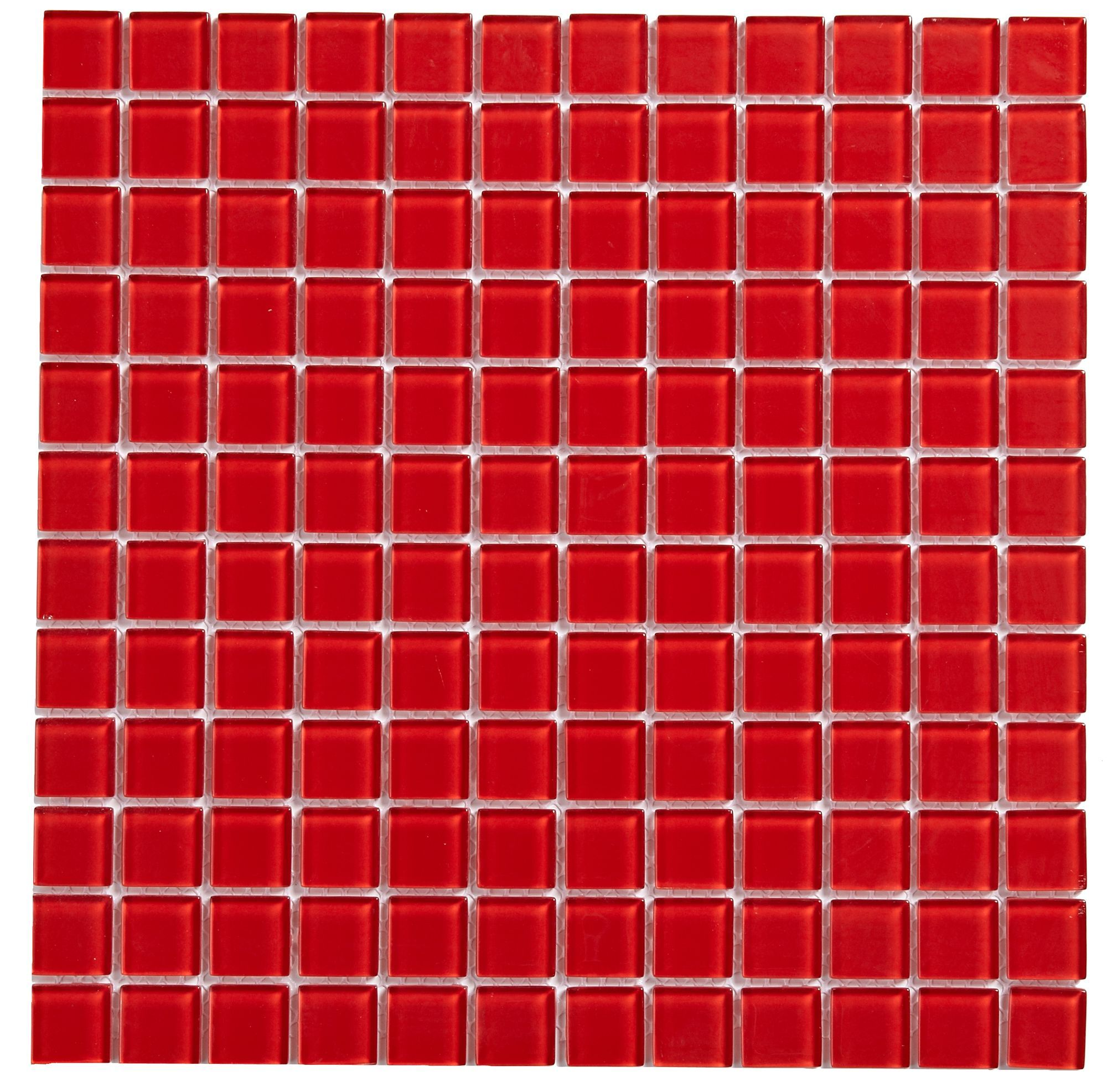 Red Glass Mosaic Tile, (L)300mm (W)300mm
