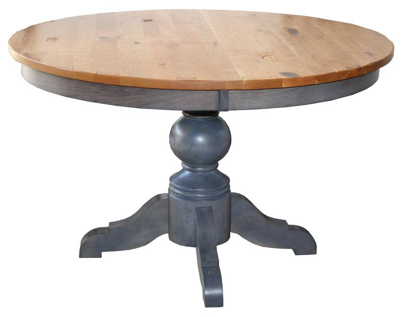 Kowan Round Dining Table Shown In 2 Tone Brown Maple Wood Available Variety Of Woods Stains And Sizes