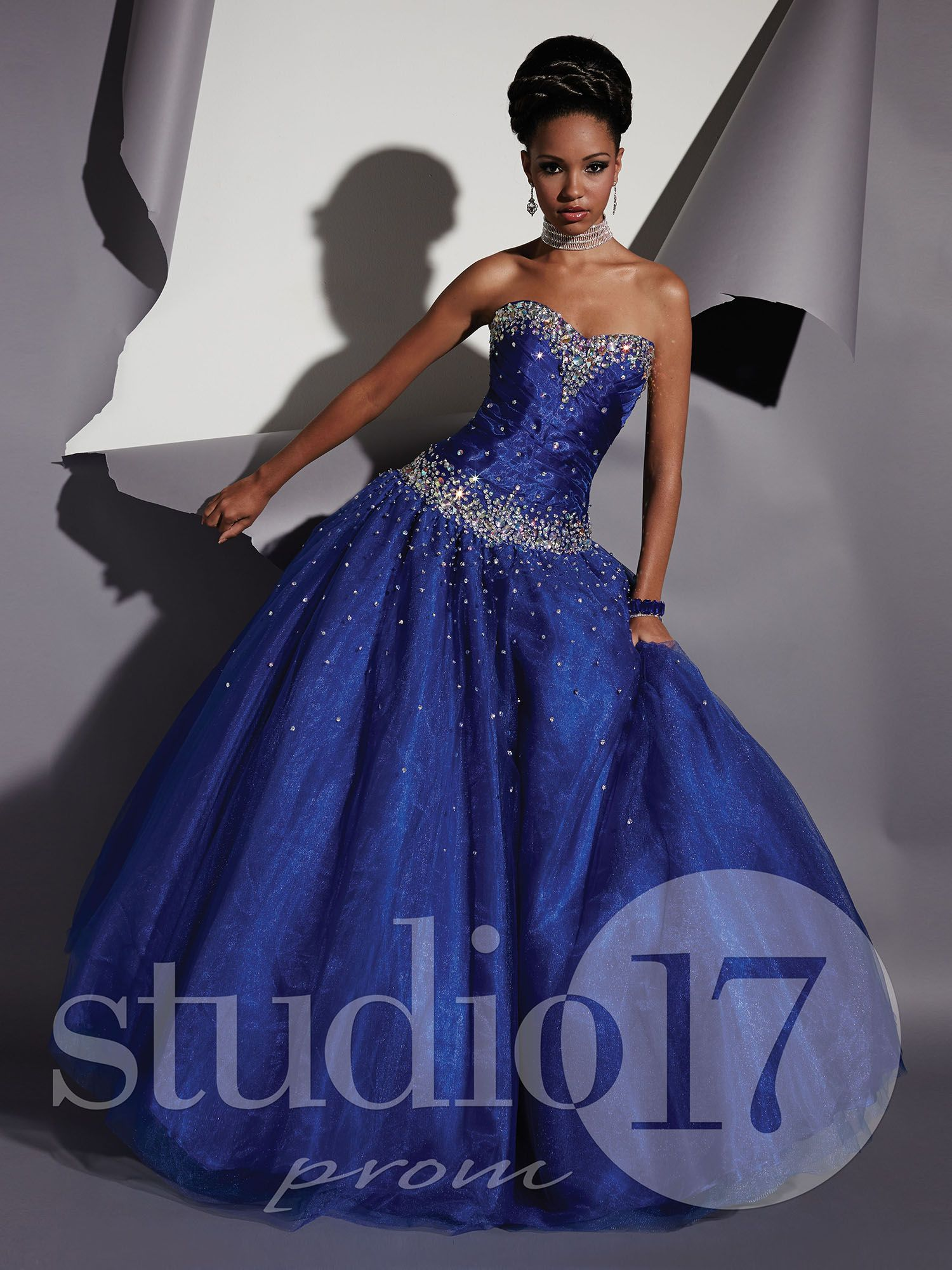 Studio 17 Styles 12470: Strapless sweetheart neckline, low torso, asymmetrically pleated bodice, heavy AB rhinestone encrusted bust and waist trim, full tulle ball gown, lace-up back. #prom #prom2014 #pageant #dress #specialoccasion #formalwear #studio17 #houseofwu