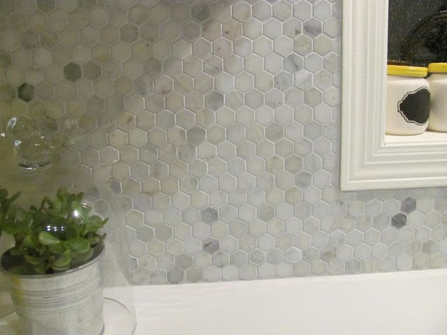 Marble Hex Tile Kitchen Backsplash Hampton Carrara