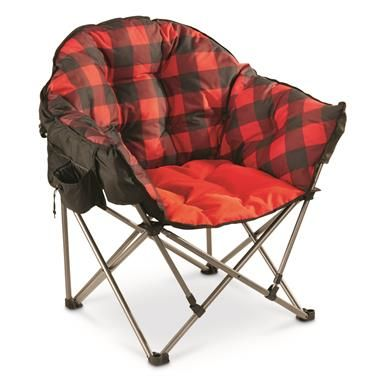 Photo of Guide Gear Oversized Club Camp Chair, 500-lb. Capacity, Red Plaid