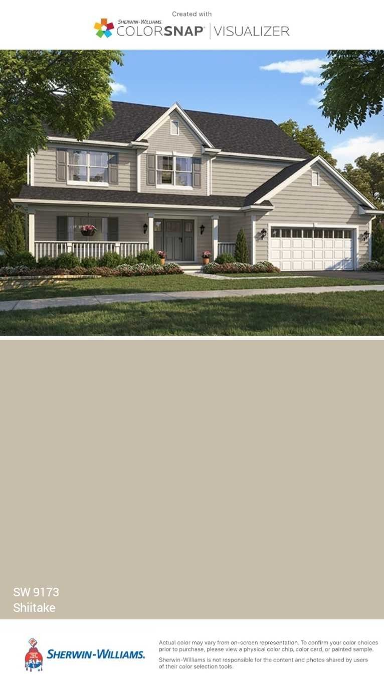 Shiitake Sherwin Williams Light Greige Taupe House Exterior