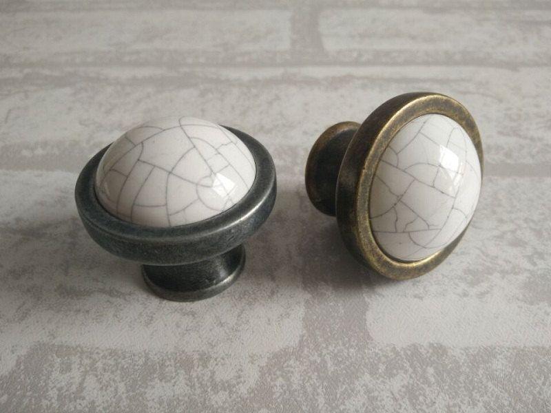 Antique Porcelain Door Knobs vintage kitchen cabinet knobs / dresser drawer pulls knob handles